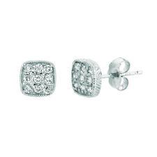 0.30 Carat Natural Diamond Square Earrings G SI 14K White Gold