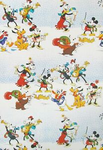 Vintage Disney Christmas Carolers Wrapping Paper Gift Wrap Mickey Minnie b