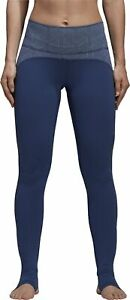 adidas Believe This Womens Yoga Tights Blue High Rise Full Length Breathable