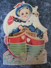 1931 Vintage Valentine Made In Germany Honeycomb Boy Sailor Boat Ships Wheel 6""