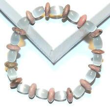 "BR481f Pink Rhodonite & Blue Cat's Eye Glass & Gemstone 7"" Stretch Bead Bracelet"