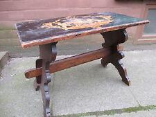 Kleine Bank Engelmotiv Sitzbank Tisch Brandmalerei Ebonisiert Bauernmöbel