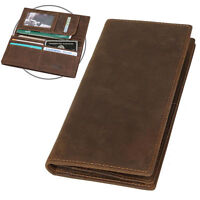 Retro Luxury Men's Leather Long Wallet Bifold Card Coin Holder Air Ticket Purse