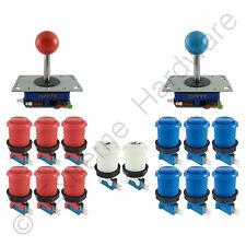 2 Player Arcade Control Kit 2 Ball Top Joysticks 14 Buttons Red/Blue JAMMA MAME