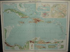 1920 gran mapa ~ las Indias occidentales Haití Cuba Islas de Sotavento Jamaica Canal de Panamá
