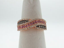 Natural Pink Sapphires Diamonds Solid 14K ROSE Gold Ring SIZE 7