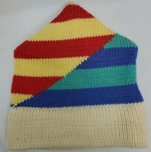Vintage Top Notch Knits Wool Beanie Toq Triangle Ski Hat Rainbow Stripe USA