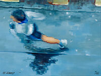 "Runner In Paris Rain  16X12"" Impressionist Archival Print, 75, Artist"