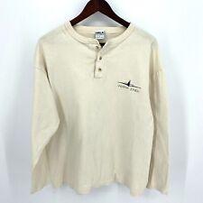 Vintage HRLA Indiana Jones Henley L/S T Shirt Mens Large Beige Single Stitch