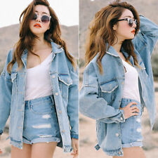 Womens Vintage Denim Oversized Vintage Jeans Jacket Boyfriend Loose Coat Retro