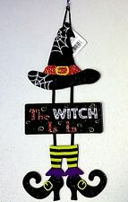 Halloween 3 part Sign Witch Is In Hat Shoe Glitter Spider Web Ribbon 17x7 NWT