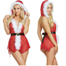 Christmas Underwear Women Sexy Lingerie Red Babydoll Dress Sleepwear Costume