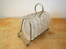 6 Vintage Glass Diamond Pattern Coasters with Metal Carry Stand Holder