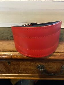 B/NEW MALWERA RED LEATHER COLLAR FOR GREYHOUND/LURCHER/WHIPPET