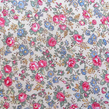 1/2 Yard, Cotton Quilting Sewing Fabric Country Cottage Calico Tiny Rose Flower