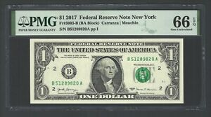 United State -Federal Reserve Note One Dollar 2017 F3003-B (BA Block) Grade 66