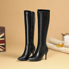 Solid Stilettos Heels Leather Pointy Toe Fashion Women Knee High Boots Side Zip