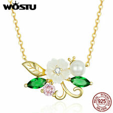 925 Sterling Silver Necklace Shell Flower With Pearl Women Fashion Elegant Chain