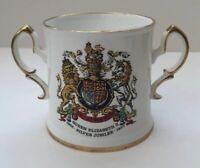 Queen Elizabeth II Silver Jubilee  Commemorative Twinhandled Mug Royal Stafford