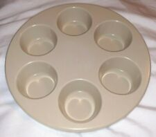 Vintage Anchor Hocking Microware PM 447-TI 486 MUFFIN PAN Oven USA Tan 6 Muffins