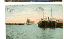 Vintage Postcard BOAT DOCKS GREEN BAY WI 1911
