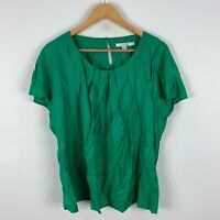 Boden Womens Shirt Top 16 Green Short Sleeve Round Neck