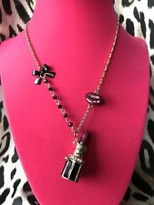 Betsey Johnson Vintage Film Noir Movie Star KISS ME Lipstick Box Lips Necklace