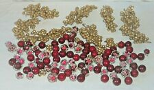 Lot Beaded Sugar Coated Faux Fake Cranberries Gold Glitter Berry Clusters Grapes