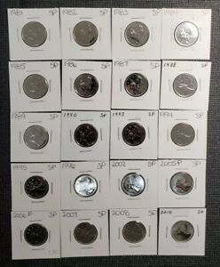 Canada 1981 - 2010 Set of 20 Different 25 Cents Specimen Coins Collection Lot