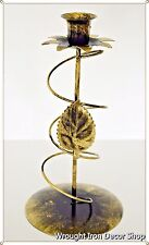 Wrought Iron Candle Stand Decorative Golden Single Rose Flower Floral Standing