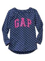 Baby GAP Girls NEW Size 4T, 5T Blue White Top Polka Dots Logo Shirt