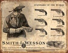 Smith & Wesson Tin Sign Revolvers Retro Vintage Gun Wall Art Man Cave Home Decor