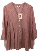 Entro Tunic V-Neck 3/4 Sleeve Button Down Embroidered Pink Women Size Small NWT