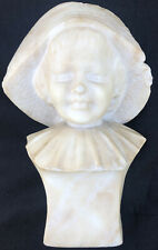 "Victorian Signed Alabaster Bust Of A Young Girl 10 1/4"" X 6 1/2"" X 3 1/4"""