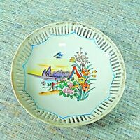 """Vintage Reticulated Made in Japan Porcelain China Candy Dish 7.5"""" Diameter"""