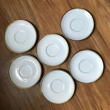VTG THOMAS BAVARIA 599  White with GOLD BAND & Verge smooth  saucers set of 6