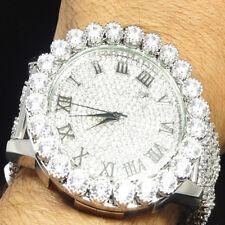Mens Simlated Diamond Jojino Joe Rodeo White Gold Finish 6 Row Custom Band Watch
