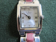 #580 ladys sterling silver rose quartz ARIA watch bracelet