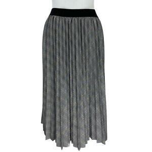 Gerard Darel Paris, Grey Tartan Print, Pleated Long Skirt. Size 2 (XS). EXC CON.