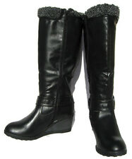 Women's Knee High BOOTS Black Fur lined Winter WEDGE Snow shoe Ladies size 10