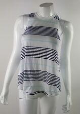 SO Womens Juniors Medium White Navy Blue Green Striped Sleeveless Blouse NWOT