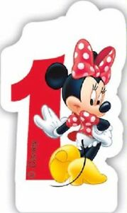 AGE 1 CANDLE - DISNEY MINNIE MOUSE - GIRL'S 1st BIRTHDAY PARTY CAKE DECORATION