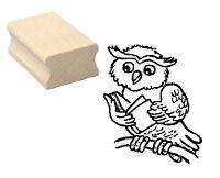 Motivstempel « EULE mit BUCH » Motiv Stempel Scrapbooking Basteln owl Lesen book