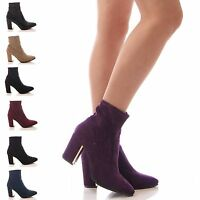 LADIES WOMENS ANKLE BOOTS STRETCH BLOCK HEEL GOLD PLATED WINTER SHOES SIZE