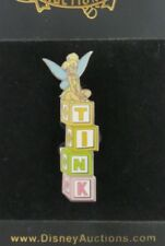 DISNEY AUCTIONS TINKER BELL SITTING ON TINK BLOCKS LE 250 PIN SILVER BACK PROTO