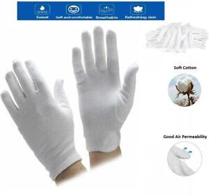 100% White Cotton Gloves Liner Moisturising Eczema Butler Beauty Magician Unisex
