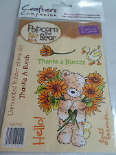 New - Crafter's Companion -Rubber Stamps -Popcorn The Bear - Thanks A Bunch