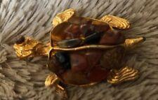Turtle Brooch With Semi Precious Back