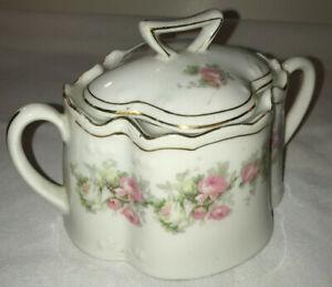 c. 1880-1918 Zeh Scherzer Z.S.&Co Bavaria Sugar Bowl & Lid ~ Pink & White Roses