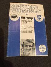 Sheffield Wednesday V Middlesbrough 1972 Soccer/football Programme
